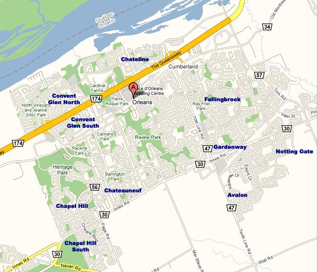 Map Of Orleans Ontario Canada Ottawa Maps  Ottawa Neighoborhood Prices, Names of Neighborhoods